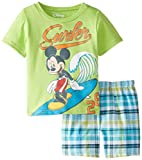 Disney Little Boys' Mickey Mouse Woven Plaid Short Set