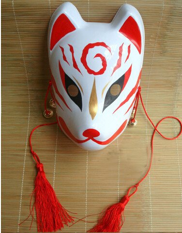 Hand Painted Japanese Fox Mask Full Face PVC for Party Halloween
