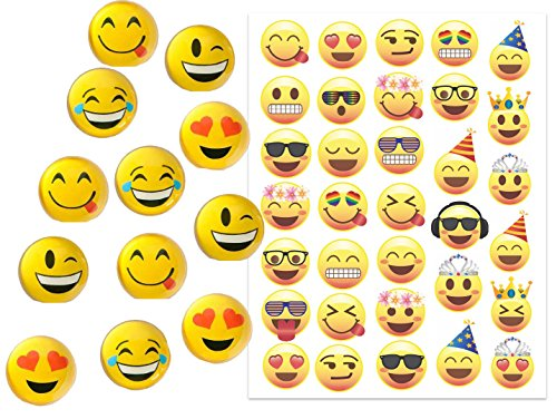 Emoji Party Favors for 12 ~ 12 Emoji Hi-Bounce Double Sided, Translucent Balls (1.8 inches) and 33 Emoji Temporary Tattoos - Super Emoticon Fun for Birthday Parties, Great for Prizes, Classroom Fun (Teen Art Table compare prices)