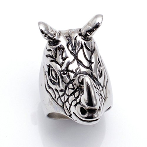 mens-316l-stainless-steel-rhinoceros-ring-silver-gothic-vintage-biker-size-r-1-2