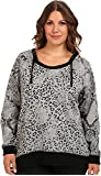 DKNY Jeans Women's Plus Size Animal Print Hooded Tunic Top