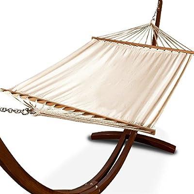 Hängematte mit Holz Gestell und Dach 405cm - Gartenliege Gartenmöbel Liege Sonnenliege von Deuba - Gartenmöbel von Du und Dein Garten