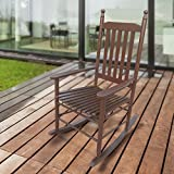1PLUS Klassischer Schaukelstuhl aus Massivholz für den gemütlichen Komfort zuhause in versch. Ausführungen (Dunkelbraun, Sandro)