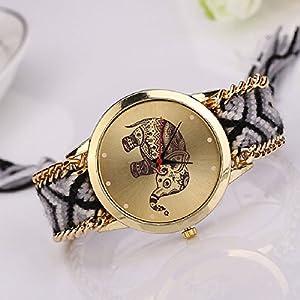 Lowpricenice Women Elephant Pattern Weaved Rope Band Bracelet Quartz Dial Wrist Watch by Lowpricenice