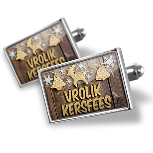Sterling Silver Cufflinks Merry Christmas In Low Saxon From Germany - Neonblond