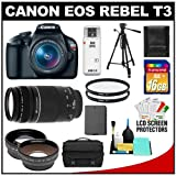 Canon EOS Rebel T3 Digital SLR Camera Body &#038; EF-S 18-55mm IS II Lens with 75-300mm III Lens + 16GB Card + .45x Wide Angle &#038; 2x Telephoto Lenses + Battery + (2) Filters + Tripod + Accessory Kit