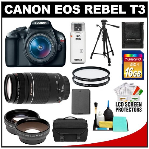 Canon EOS Rebel T3 Digital SLR Camera Body &amp; EF-S 18-55mm IS II Lens with 75-300mm III Lens + 16GB Card + .45x Wide Angle &amp; 2x Telephoto Lenses + Battery + (2) Filters + Tripod + Accessory Kit