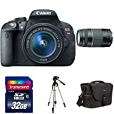 Canon EOS Rebel T5i DSLR Bundle with EF-S 18-55mm f/3.5-5.6 IS STM Lens, 75-300mm f/4-5.6 III Telephoto Lens, 32GB card, Case, Spare Battery, Tripod and more