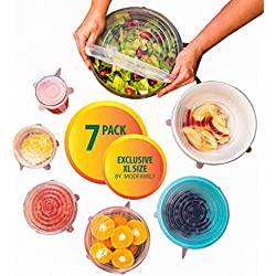 Silicone Stretch Lids (7 pack, includes EXCLUSIVE XL SIZE), Reusable, Durable and Expandable to Fit Various Sizes and Shapes of Containers. Superior for Keeping Food Fresh, Dishwasher and Freezer Safe