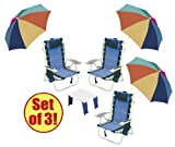51%2B1yR7iARL. SL160  Set of 3  Rio Ultimate Backpack Beach Chair w/ Upper Storage Pouch & Lower Insulated Cooler pouch & 4 inch clamp on chair umbrellas   Plus A Beach Table