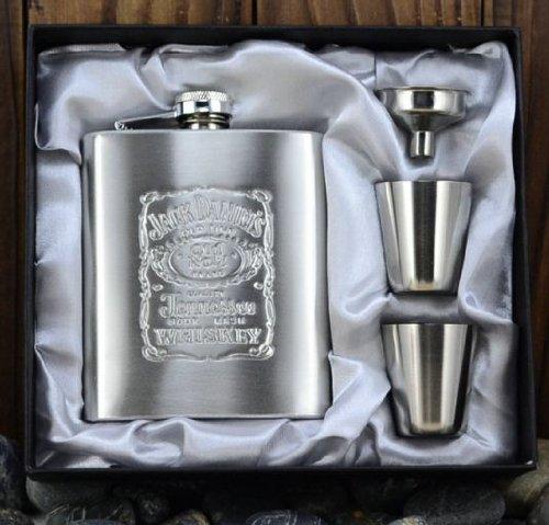 Jack Daniels Hip Flask Set 7Oz Portable Stainless Steel Flagon Wine Bottle Gift Box Hip Flasks,4Pcs/Set