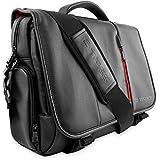 """Snugg™ Crossbody Shoulder Messenger Bag in Black Leather - Fits Laptops up to 15.6"""""""