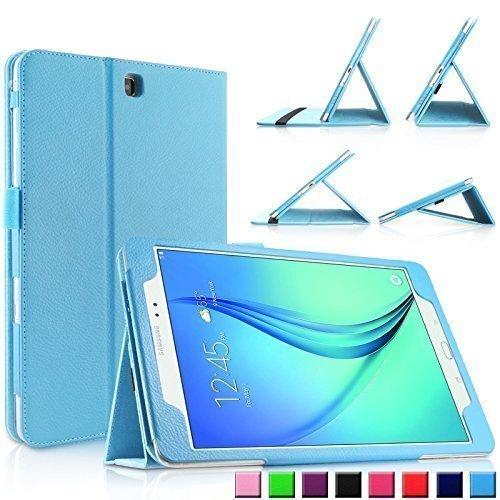 Infiland Samsung Galaxy Tab A 9.7 Hülle Case Slim Fit Folio PUlederne dünne Kunstleder Schutzhülle Cover Tasche für Samsung Galaxy Tab A 9.7 T550N/ T555N 24,6 cm (9,7 Zoll) WiFi/LTE TabletPC (mit Auto Schlaf / Wach Funktion)(Hellblau) Picture