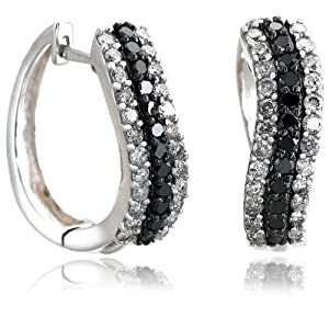 Click to buy Sterling Silver Black and White 1 Carat Diamond Earrings from Amazon!