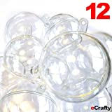 eCrafty EC-5426 12-Pack Clear Plastic Acrylic Fillable Ball Ornaments, 2-Inch