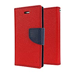 Pikimania Wallet Style Flip Case Cover For Samsung Galaxy J7 (Red)