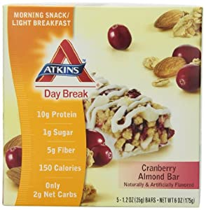 Atkins Day Break Bars, Cranberry Almond, 1.2-Ounce Bars, 5-count  (Pack of 3)