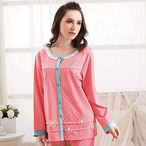 HE XIAODONG@ regalo di Natale Confortevole cotone di svago belle pigiama Pigiama di inverno per ladies' maglia Cardigan cotone lino abbigliamento,Rosso anguria,XL