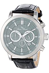 Lucien Piccard Men's 12011-014 Monte Viso Chronograph Stainless Steel Watch with Black Leather Band