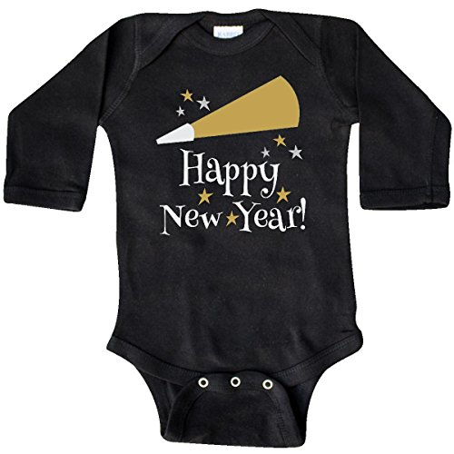 Inktastic Unisex Baby Happy New Year holiday Long Sleeve Creepers 6 Months Black
