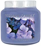 Village Candle Large Fragranced Candle Jar - 17cm x 10cm - 26oz (1219g)- Hydrangea - upto 170 hours burn time