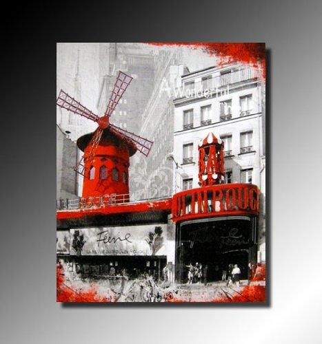 Cadres tableau toile decorative paris la feerie du moulin rouge peinture a l huile chassis for Cadre tableau pas cher paris