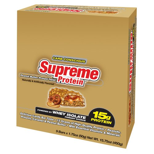 Supreme Protein 50 g Peanut Butter Pretzel Whey Protein Snack Bars - Box of 9