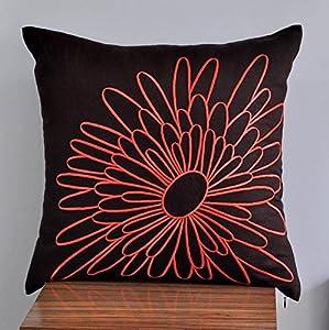 Dark Orange Decorative Pillows : Throw Pillow Cover , Decorative Pillow Cover, Embroidered Pillow, Dark Brown Linen pillow ...