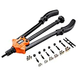 Tacklife Rivet Gun Kit 14'', HHNP1A Professional Long Handle Threaded Insert Tool with 7 Interchangeable Mandrels and 35 Pcs Rivets Nuts
