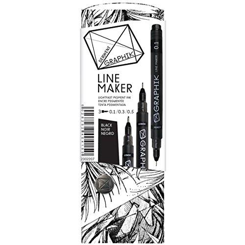 Line Art Editor : Derwent graphik line maker drawing pens black pack