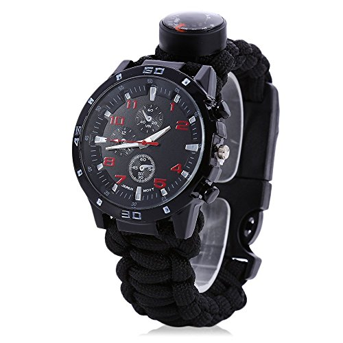 Men Women Emergency Survival Watch with Paracord,Compass,Whistle,Fire Starter, Analog Watches, Survival Gear,Water Resistant ,Adjustable (Black) (Whistle For Women compare prices)