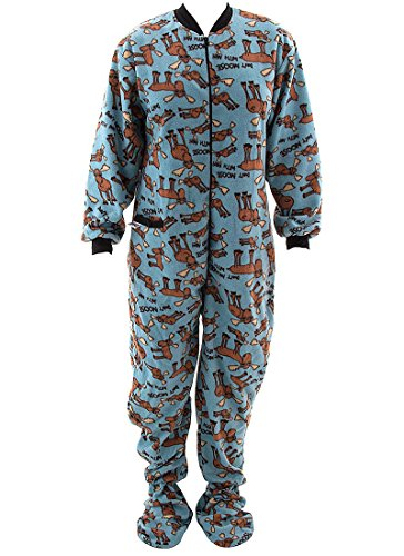 Lazy One Don't Moose With Me Blue Footed Pajamas for Adults, blue