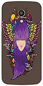 Snoogg Purple Haired Woman 2686 Case Cover For Motorola G / Moto G 2Nd Genera...