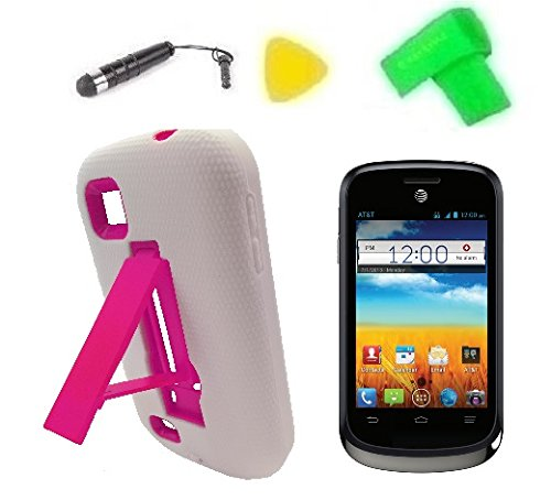 Heavy Duty Hybrid Phone Cover Case Cell Phone Accessory + Extreme Band + Stylus Pen + Lcd Screen Protector + Yellow Pry Tool For At&T Zte Avail 2 Ii Go Phone Z992 / Zte Prelude Z993 (White/Pink)