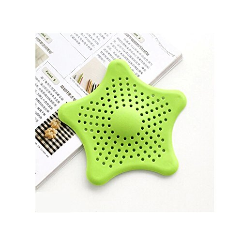 UQueen Creative Star Sewer Outfall Strainer Bathroom Bathtub Kitchen Sink Plug Anti-blocking Drain Catches Cover Floor Drain Hair Filter Screen (Green)
