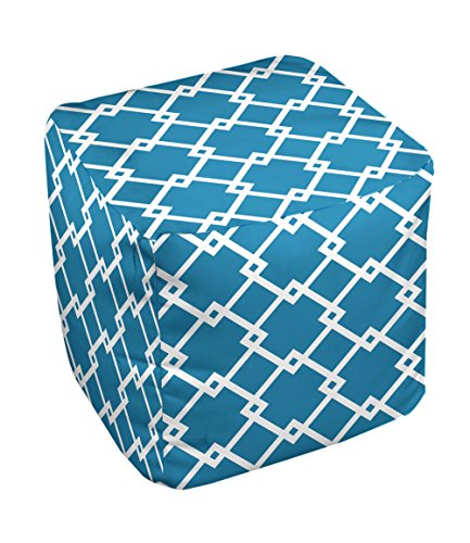 E by design FG-N10-Peacock_White-13 Geometric Pouf