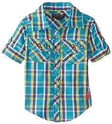 U.S. Polo Assn. Baby Girls\' Plaid Rhinestone Studded Shirt with Roll Cuff Sleeve, Turkish, 12 Months