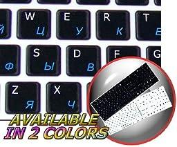 Mac English-Russian Cyrillic Keyboard Stickers On Black Background