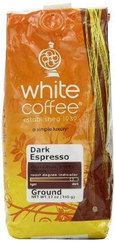 White Coffee Dark Espresso Ground Coffee 12-Ounce Bags Pack of 3B001D20DOW