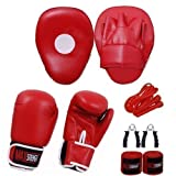 MAXSTRENGTH Hook and Jab Punch Bag Focus Pads Boxing Gloves 10oz Set Sparring Punching MMA Martial Arts UFC Fight Gym Training Muay Thai Kickboxing