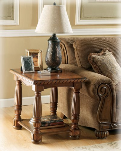Cheap Brockton Rectangular End Table by Ashley – Rich Old World brown finish (T486-3) (T486-3)