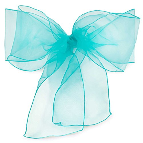 Lann's Linens Organza Chair Sashes / Bows - for Wedding or Banquet - Turquoise - 10pcs