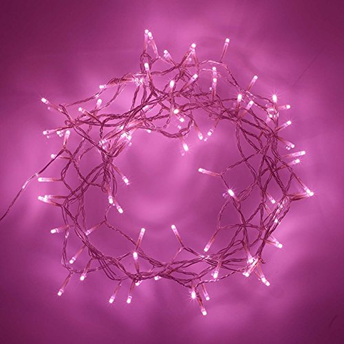 Perfect Lighting 100 Pinky LED Indoor Fairy Lights On Clear Cable String Lights with 8 Function Controller, 32.80ft (Pink String Lights)