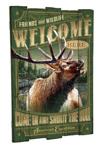 American Expedition Elk Wooden Cabin Sign