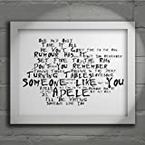 `Noir Paranoiac` Art Print - ADELE - 21 - Signed & Numbered Limited Edition Typography Wall Art Print - Song Lyrics Mini Poster
