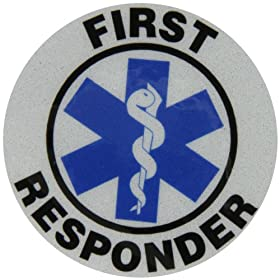 "Accuform Signs LHTL638 Emergency Response Reflective Helmet Sticker, Legend ""FIRST RESPONDER"" with Graphic, 2-1/4"" Diameter, Blue/Black on White"
