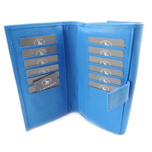 Wallet checkbook holder leather Frandi blue grained ...