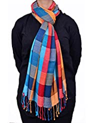 Dulhan Choice Semi Pashmina Multicoloured Check Stole