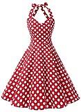 Dressystar Robe de bal Vintage 1950S pin-up à 'Audrey Hepburn' Classique Style Halter,dos nu, Rouge à pois blanc L...