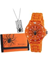 Tikkers Boy's Quartz Watch with Orange Dial Analogue Display and Orange Rubber Strap ATK1000